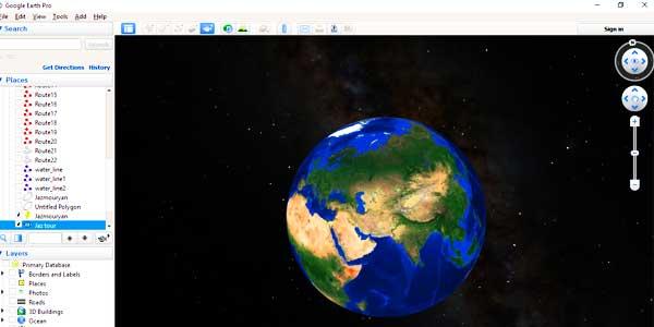 برنامه ضبط فیلم در Google Earth pro